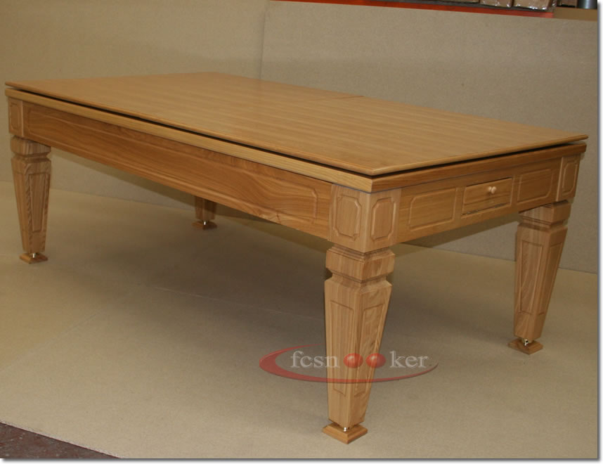 Fcsnooker presents the the elegance tapered leg convertible english pool dining table in oak - Dining kers ...
