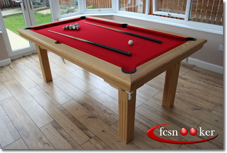 Superbe 7 Foot X 4 Foot Routed Leg Traditional Pool Dining Table In Oak With Red  Cloth   Two Piece Table Top Fitted
