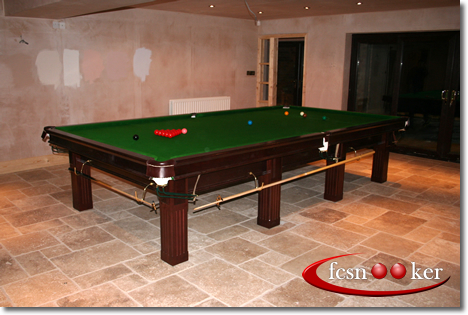 12 Foot X 6 Foot Majestic Snooker Table In Oak Hardwood With Green Cloth    Four Piece Table Top Fitted