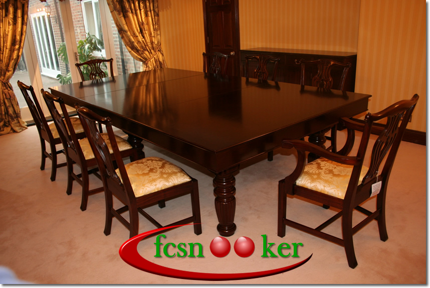 Ordinaire 9 Foot X 4.5 Foot Regal Snooker Dining Table In Solid Mahogany Hardwoods  Lacquered Black With Olive Green Cloth Fitted To The Table Bed And Cushion  Rails