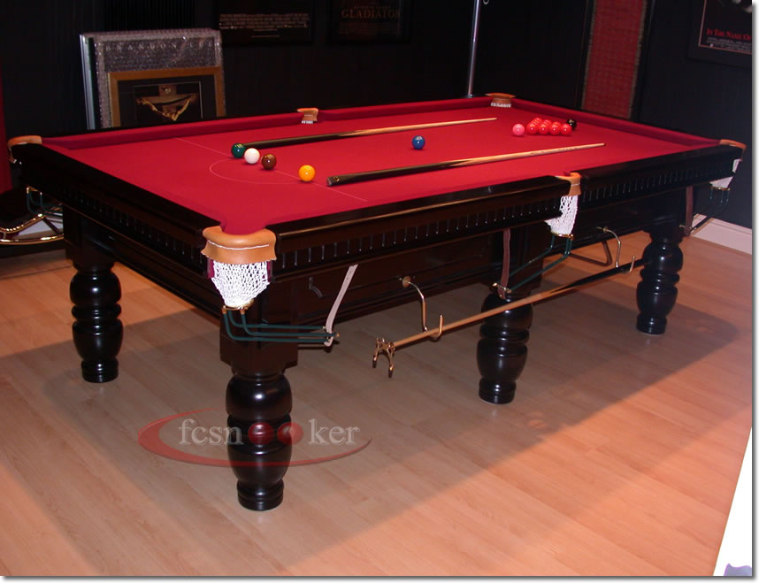 8 Foot X 4 Foot Classic Snooker Table Lacquered And Polished In Black And  Fitted With Burgundy Cloth To The Table Bed And Cushion Rails