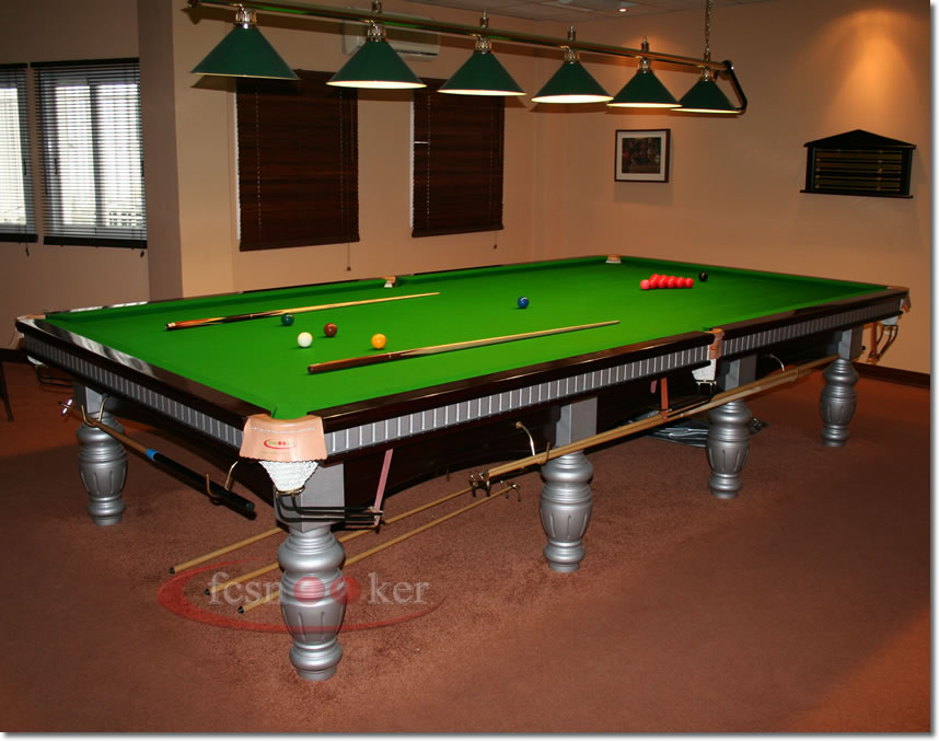 Fcsnooker presents the elite in mahogany with silver trim for 10 foot snooker table