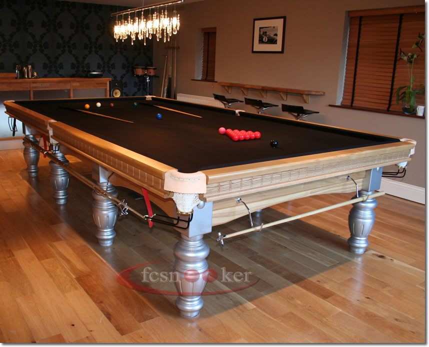 12 Foot X 6 Foot Elite Snooker Table In Oak Finished With Silver Trim And  Fitted With Black Cloth To The Table Bed And Cushion Rails