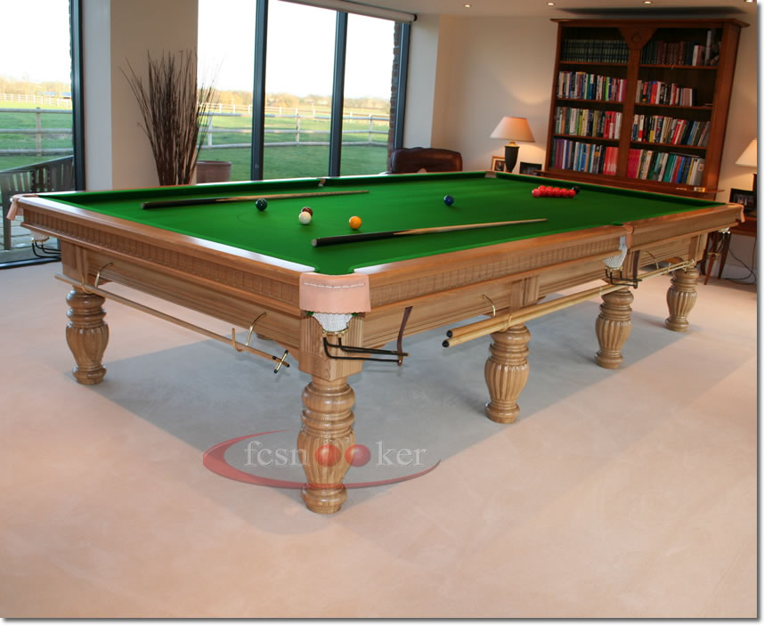 Fcsnooker presents the regal in oak turned leg snooker for 10 x 5 snooker table