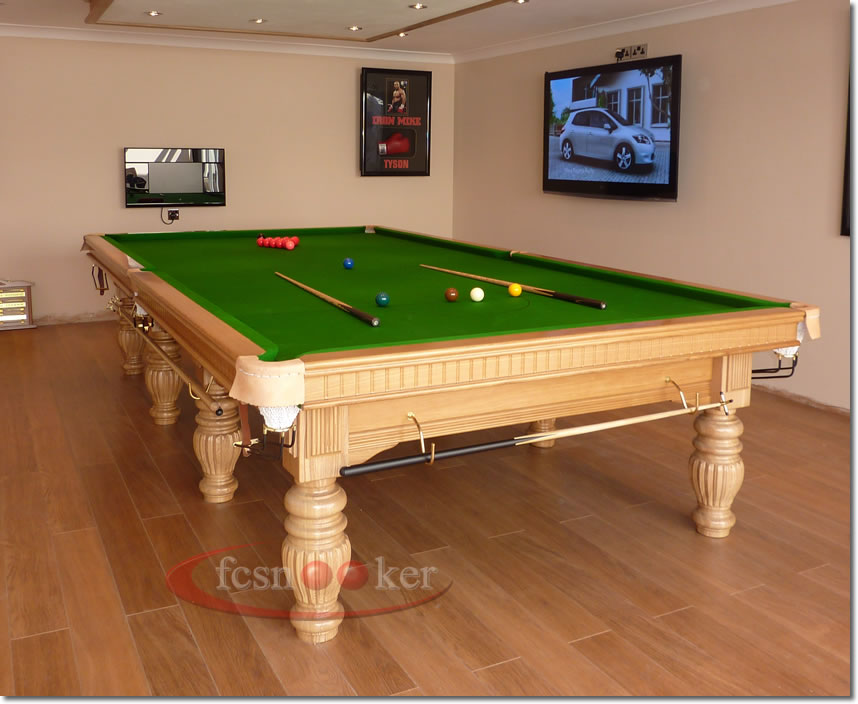 12 Foot X 6 Foot Regal Snooker Table In Oak Fitted With Olive Green Cloth  To The Table Bed And Cushion Rails