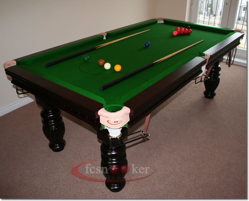 Fcsnooker presents the regal in mahogany turned leg for 10 foot snooker table