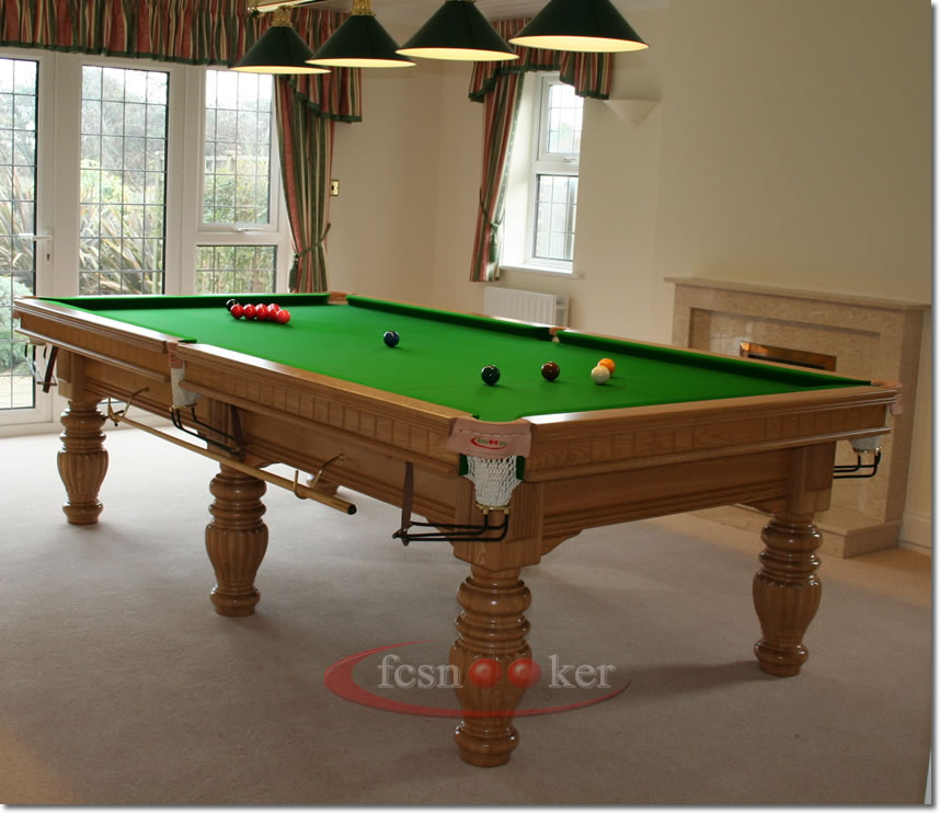 Fcsnooker presents the regal in oak turned leg snooker for 10 snooker table