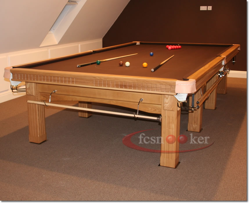 12 Foot X 6 Foot Traditional Snooker Table In Oak Fitted With Nutmeg Cloth  To The Table Bed And Cushion Rails