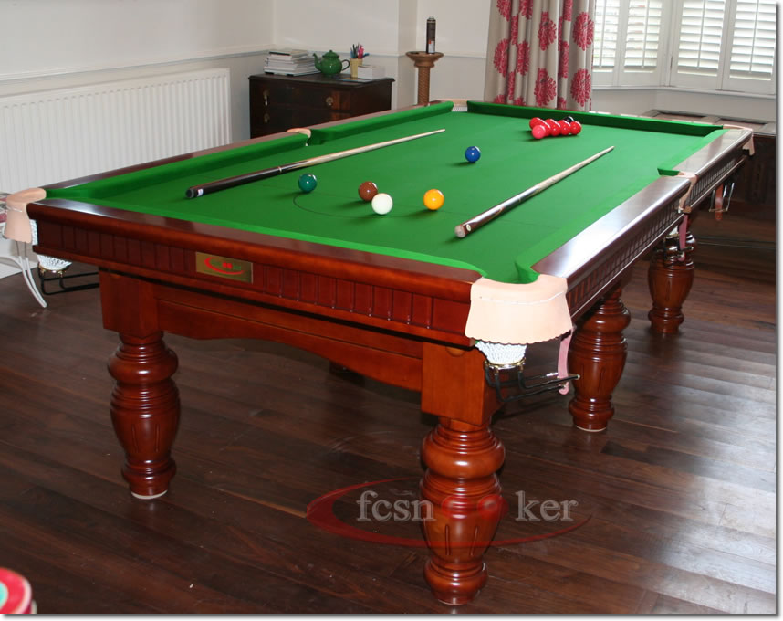 8 Foot X 4 Foot Elite Snooker Table In Walnut Fitted With Olive Green Cloth  To The Table Bed And Cushion Rails